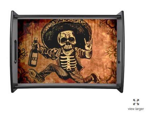 Posada inspired Tequila Bandit Skeleton Serving tray