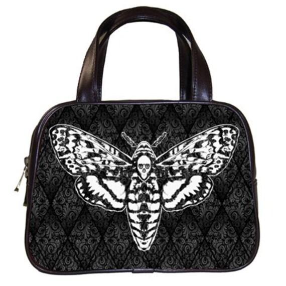 Death Head Moth on Damask Handbag