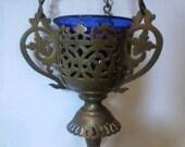 Antique Orthodox Brass Hanging Censer Candle Holder Lamp Cobalt Glass