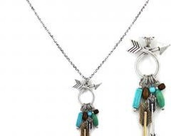 Arrow Long Necklace and Earring Set