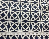CLEARANCE SALE Blue navy white interlocking circles home deco fabric 1/2 yard