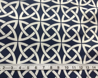 CLEARANCE SALE 0.5 yard Blue navy white interlocking circles home deco fabric