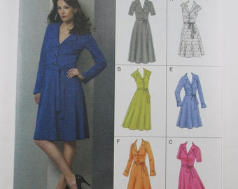 Vogue 8613, Misses' Dress Sewing Pattern, Easy Vogue Options, 6 Versions of Dress Pattern, Misses' Sizes:  8, 10, 12, 14, 16, New and Uncut