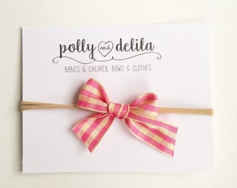 Pink gingham bow nylon headband