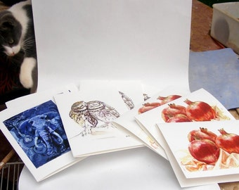 Three Elephants Greeting Cards, Christmas Greeting Card, Holiday Card With A Fourth Gift Card
