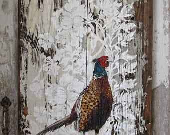 The Pheasant original acrylic painting on rustic repurposed wood