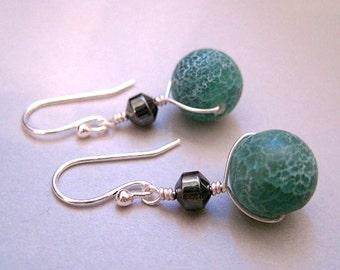 Crackle Agate Earrings, Green Stone Earrings, Hematite Earrings, Sterling Silver, Modern Gemstone Jewelry