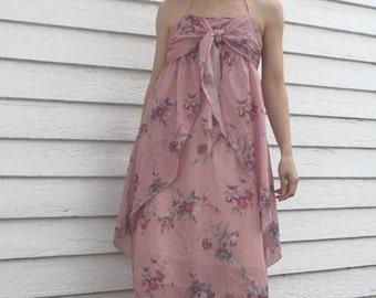 SHOP SALE Maxi Dress Pink Floral Sheer Print Hippie Summer 70s Vintage S Supermodel Length