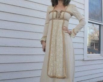 60s Lace Dress Gunne Sax Ivory Victorian Prairie Hippie Black Label Maxi XS