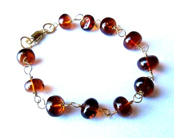 Gold Vermeil Hessonite Garnet Bracelet