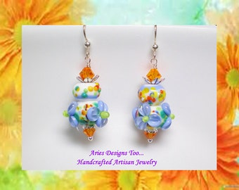 Blue and Orange Floral Lampwork Earrings,,Short Blue and Orange Floral Earrings, Short Blue & Orange Dangle Earrings