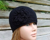 ladies crochet hat girls beanie hat womens crocheted hat black with black flower youth adult size beanie 5891