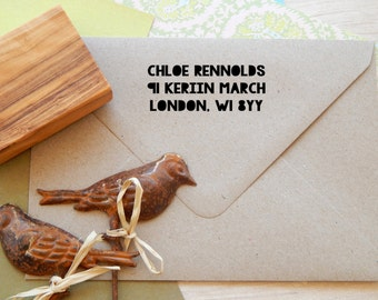 Contemporary Papercut  Return Address Olive Wood Stamp