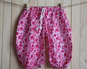 Kid's Red  Flower Printed Cotton Pants /Gypsy Pants/Aladdin Pants/Genie Pants/Yoga Pants /Thai Pants Size-S
