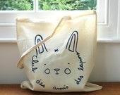 SALE 50% OFF  Bunny Tote bag - Screen printed -  Jean Cocteau