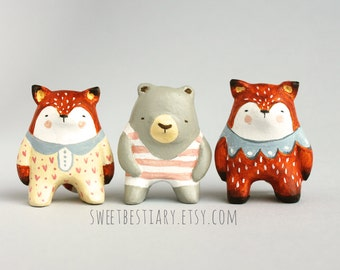 Bear or fox totem - Animal art - Clay miniature - Woodland creatures -  Made to order