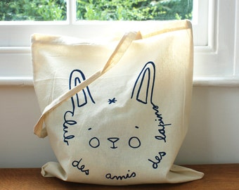 SALE 50% OFF  Bunny Tote bag - Screen printed -  Jean Cocteau