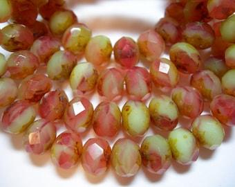 25 8x6mm Raspberry Lemon Picasso Czech glass Rondelle beads