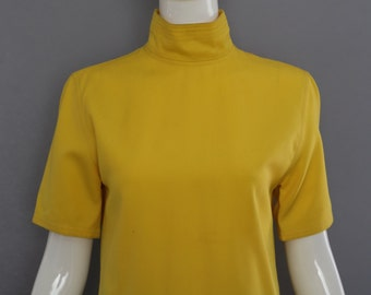 80s GIANNI VERSACE electric yellow avant garde tailored shirt top blouse  small vintage 1980s