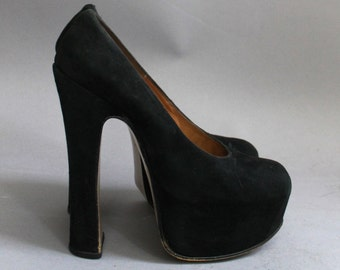 RARE 80s VIVIENNE WESTWOOD black suede extreme court shoes high heels pumps punk rock platforms seditionaries worlds end goth 7