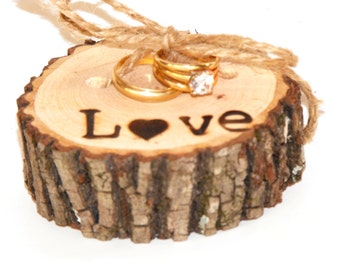 Ring Bearer Pillow - Wood Slice - Hand burned Love - Hickory Wood Slice - Woodland Wedding ~ Minimal Ring Bearer ~ Wood ring bearer pillow