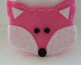 4 Handmade Felt Felties Bubblegum Pink Fox Appliques