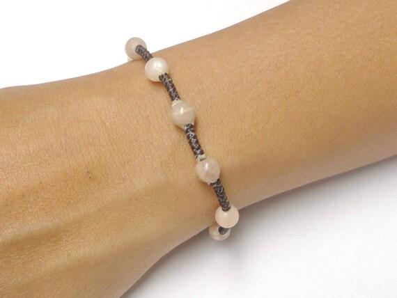 Handcrafted Pink Moonstone Gemstone BEAD Macrame Wax COTTON Thai Buddhist Wristband Bracelet Asian Jewelry
