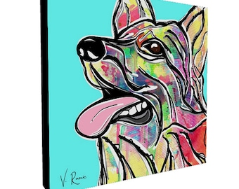 Art Print, German Shepherd, Gallery Canvas Print, Canvas Print, Digital Painting, Pop Art, Abstract Art, Watercolor Art, Modern Art Print