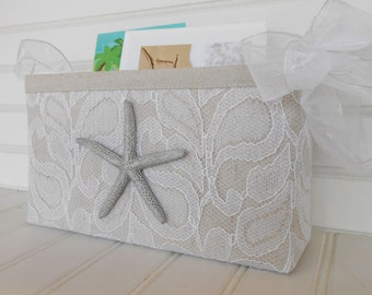 Coastal card basket with starfish and lace for weddings and birthdays