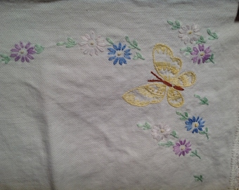 Vintage Needlepoint Butterfly Doilies // Set of 2