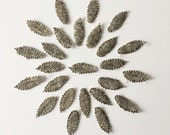 Beautiful Set of Hand-Beaded Appliques, Vintage Leaves, 25 pcs