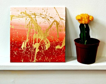 """Red Is The Color,Abstract Painting,Small Painting,Red And Gold,Bold Painting,5""""x5"""" Painting,Colorful,Imaginative,Art"""