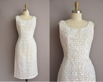 50s full sequin bombshell vintage wiggle dress / vintage 1950s wedding dress