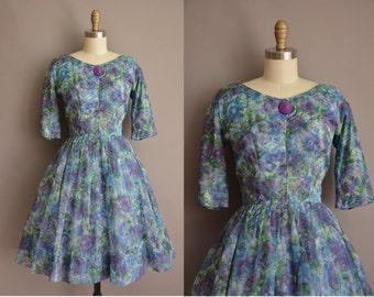 50s blue floral chiffon full skirt vintage dress / vintage 1950s dress