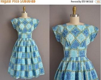 25% off SHOP SALE... 50s blue and green cotton print vintage dress / vintage 1950s dress