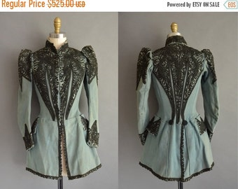 25% off SHOP SALE... 1900s rare robbin egg blue and black antique jacket / antique Victorian jacket