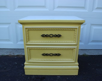 Vintage French Provincial Bedroom Night Stand End Table Furniture Set Yellow Cream