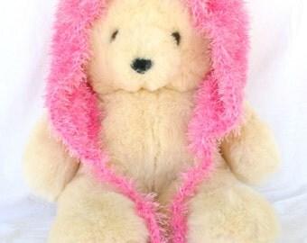 Crochet hood pink with cat ears ties pompoms adult teen fuzzy hat bright soft fluffy fun winter wear Halloween costume accessory feminine