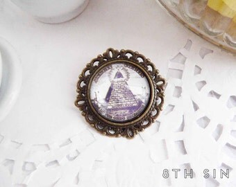 Antique Bronze All Seeing Eye Brooch, Antique Bronze Illuminati Brooch, All Seeing Eye Cameo Brooch, Eye of Providence Brooch Pyramid Brooch