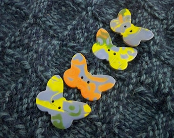 Butterfly sewing buttons colorful clay set of four