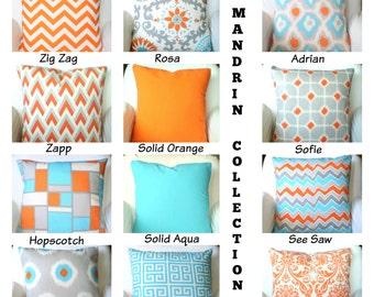 Orange Aqua Decorative Throw Pillow Covers, Cushions, Orange Aqua Gray Cream, Chevron Suzani Geometric, One or More Mix & Match ALL SIZES