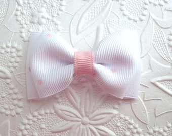 "Dainty Baby Bow ~ Toddler Hair Bow ~ Simple 3"" Boutique Bow ~ White Bow with Pink Dots"