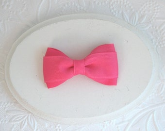 "Hair Bows for Toddlers / Girls 3"" Hot Pink Boutique Hair Bow, Simple Toddler Bows"