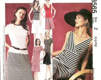 Sz Lrg/Xlg - McCall's Separates Pattern 3565 - Misses' Dresses, Tops and Skirt - Stripe It Rich