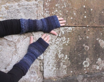 Arm warmers - blue mittens - extra long, gift for her  fingerless gloves, gift for her, knitwear UK