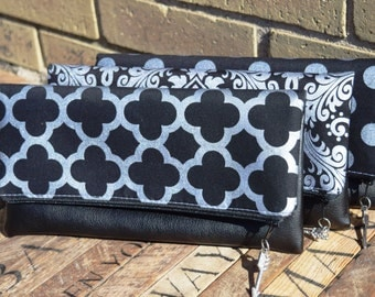 Set of Black and Silver Vegan Clutch, Vegan Clutch, Bridesmaid Clutch, Fold Over Clutch, Bridesmaids Gift, Vegan Clutch, Damask Clutch
