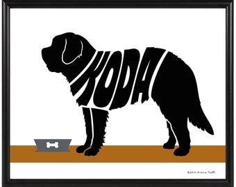 Personalized Saint Bernard Silhouette Print, Framed Custom Dog Name Art, St. Bernard Memorial Gift