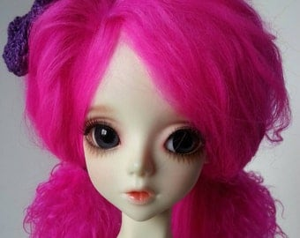 "Hot pink size 8-9"" BJD wig Tibetan lambswool for SD ball jointed dolls"