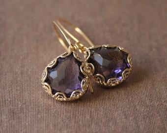 Amethyst Earrings,Gold Earrings,Dangle Earrings,Purple Earrings,Mothers Day,Mothers Day Gift
