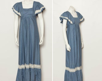 vintage 70s chambray hippie maxi dress